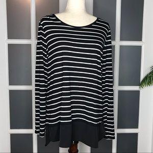 GUC Women's sz XL Black & White Striped Long Tunic
